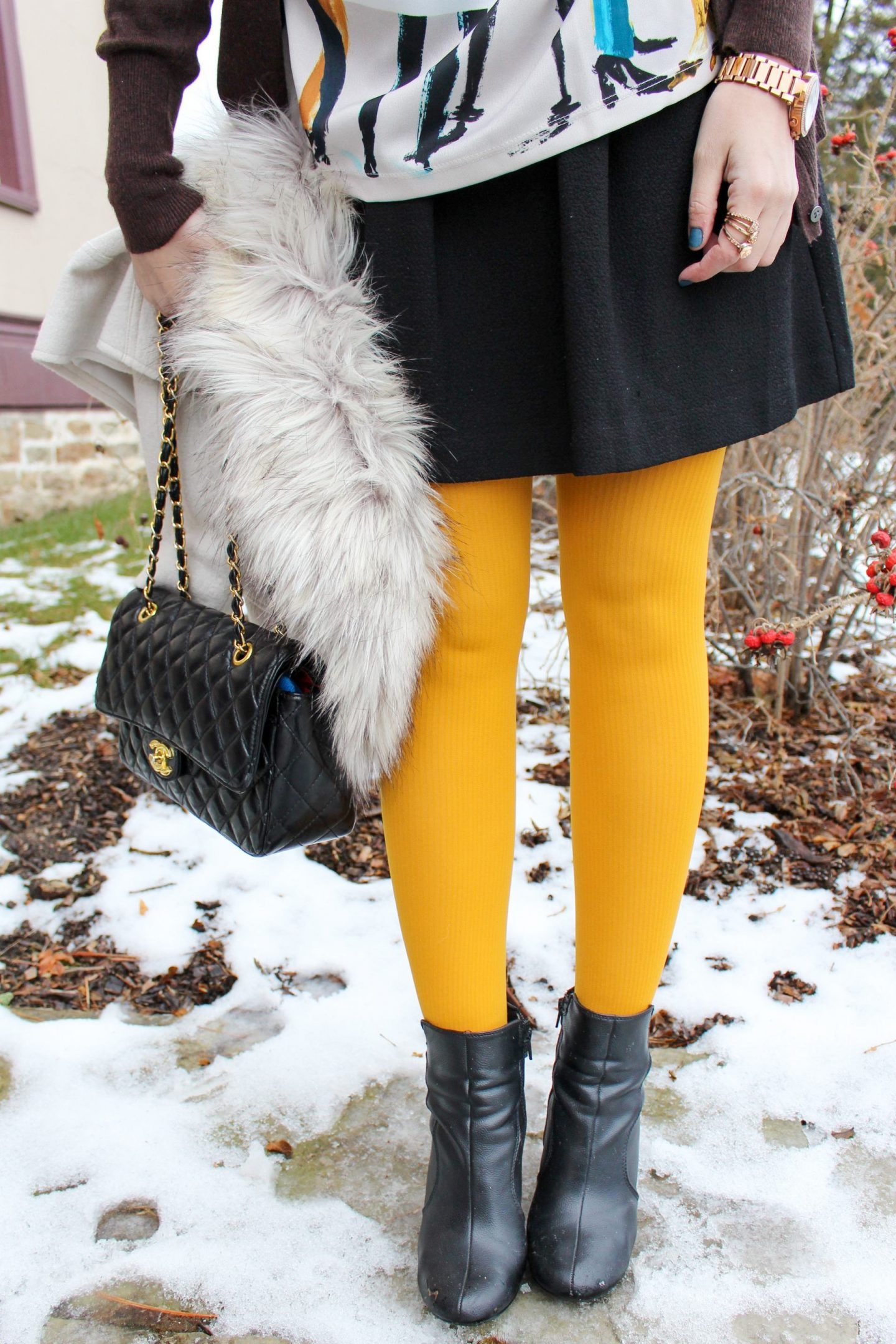 Pairing your bright tights with your everyday skirt