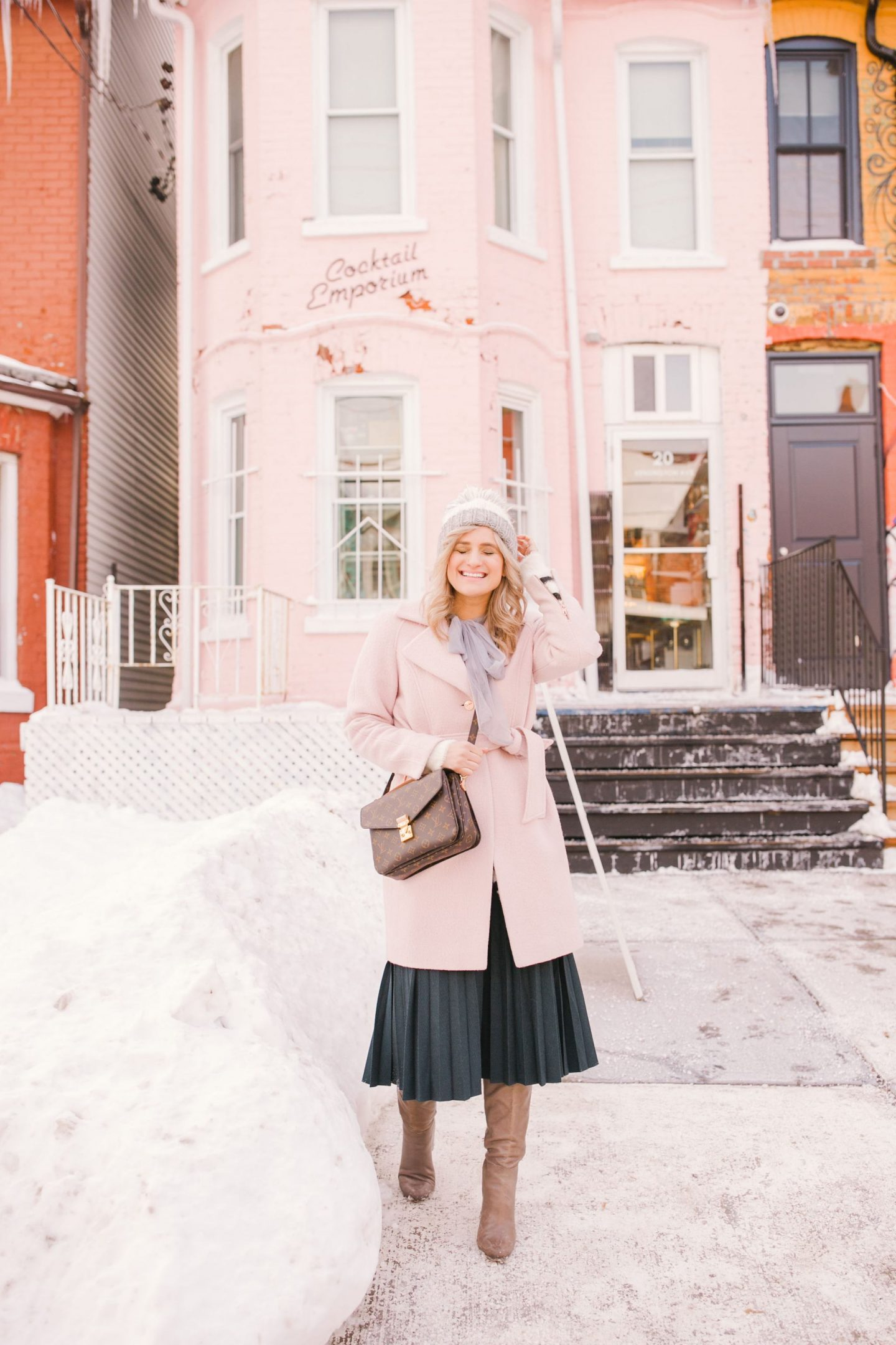 5 Ways I am Doing Things Differently In My Life This Year - Pink Ted Baker wrap coat, pleated skirt, Ann Taylor knee high boots and Louis Vuitton Pochette Metis handbag ootd
