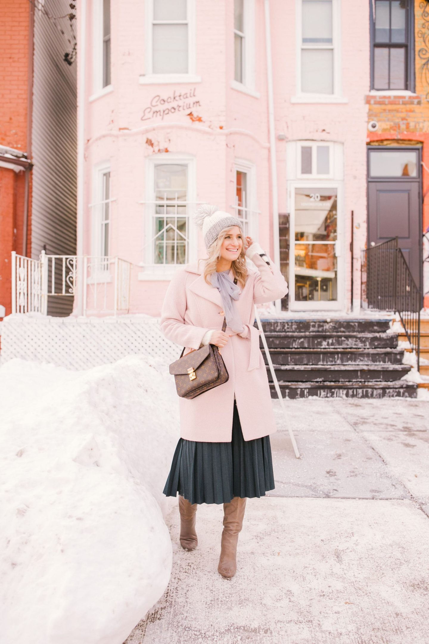 5 Ways I am Doing Things Differently In My Life This Year - Pink Ted Baker wrap coat, pleated skirt, Ann Taylor knee high boots and Louis Vuitton Pochette Metis handbag