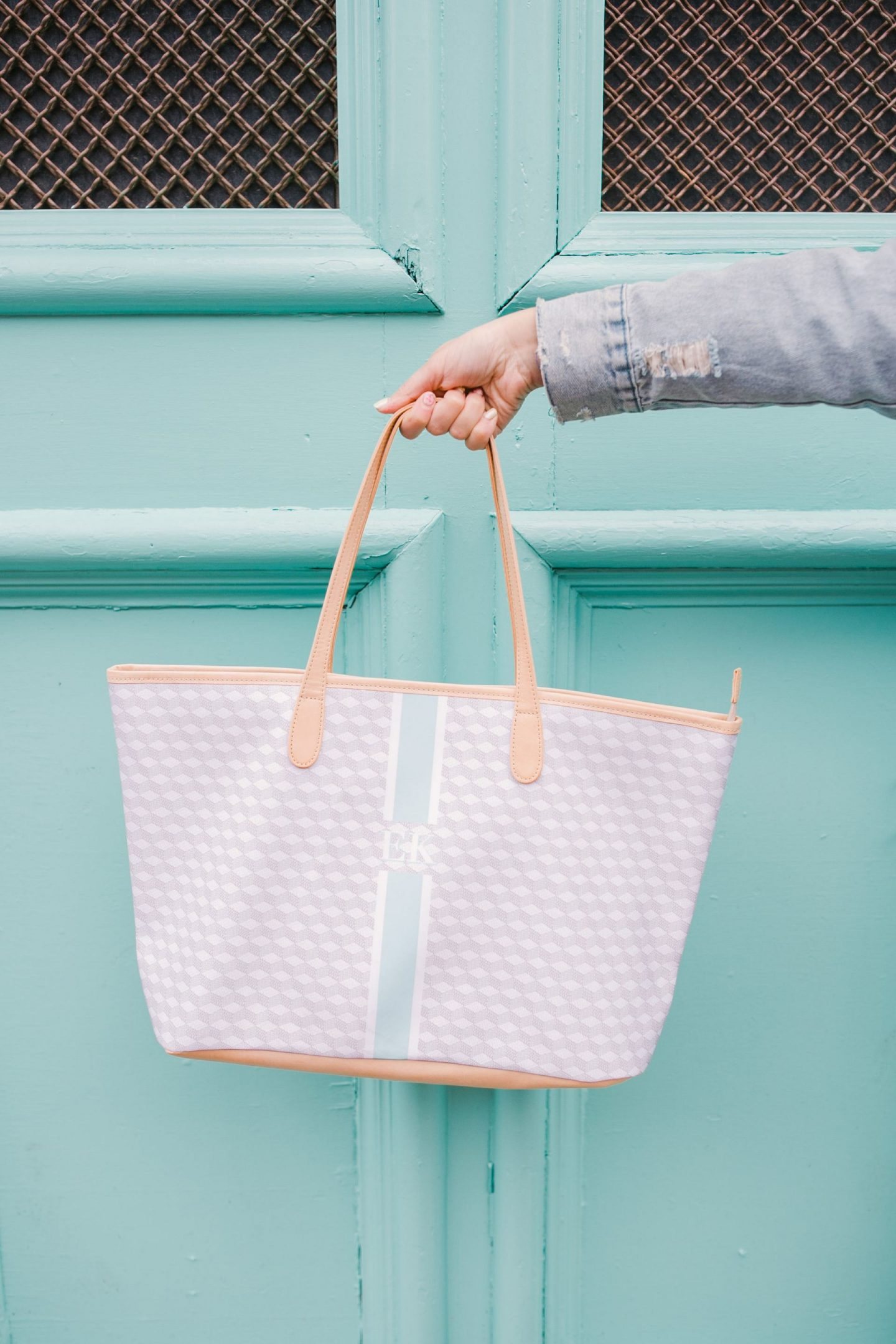 Bijuleni holding Barrington Gifts St. Annes monogrammed tote