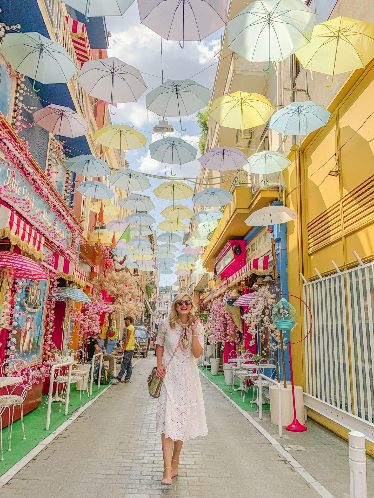 Bijuleni-Athens-Greece-Alleway with Colourful Umbrellas