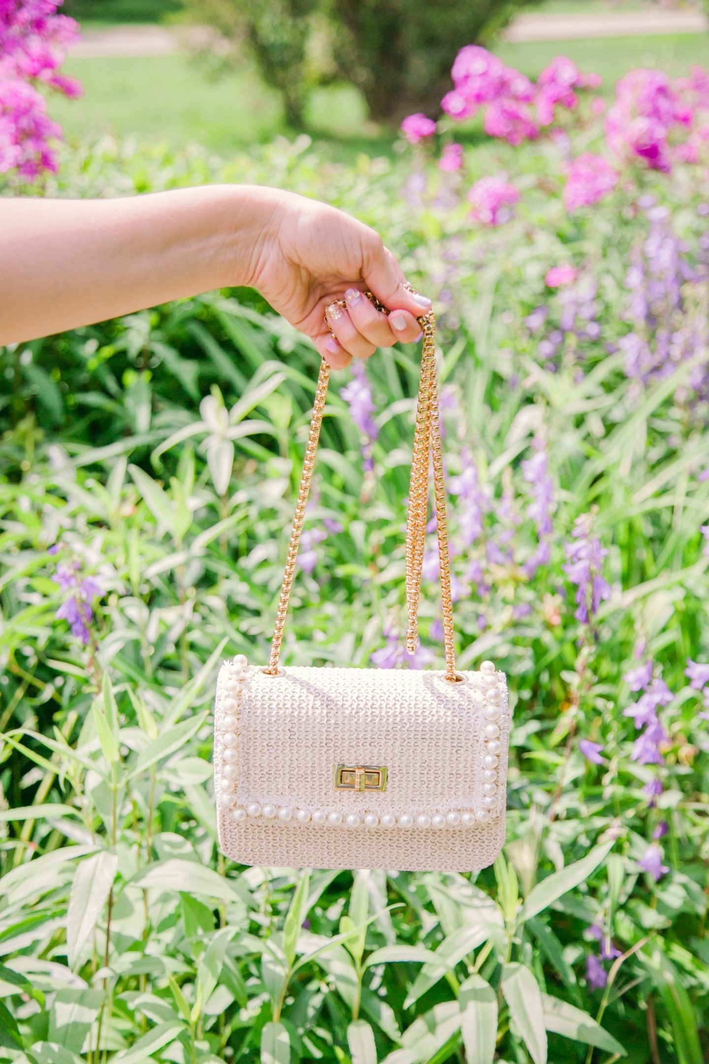 Super affordable Chanel Inspired Tweed Pearl Purse