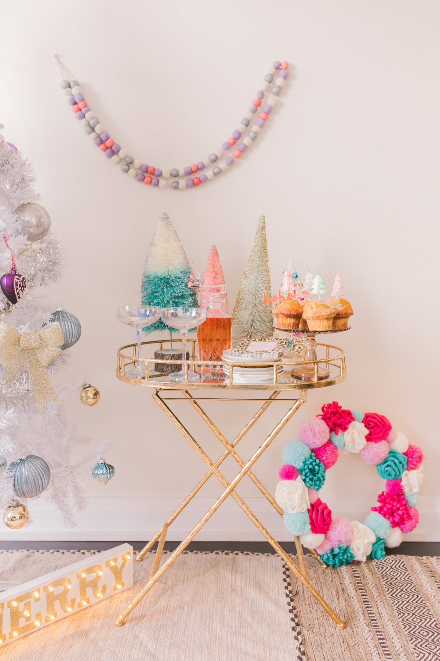 How to Style your holiday bar cart for Christmas- Bijuleni