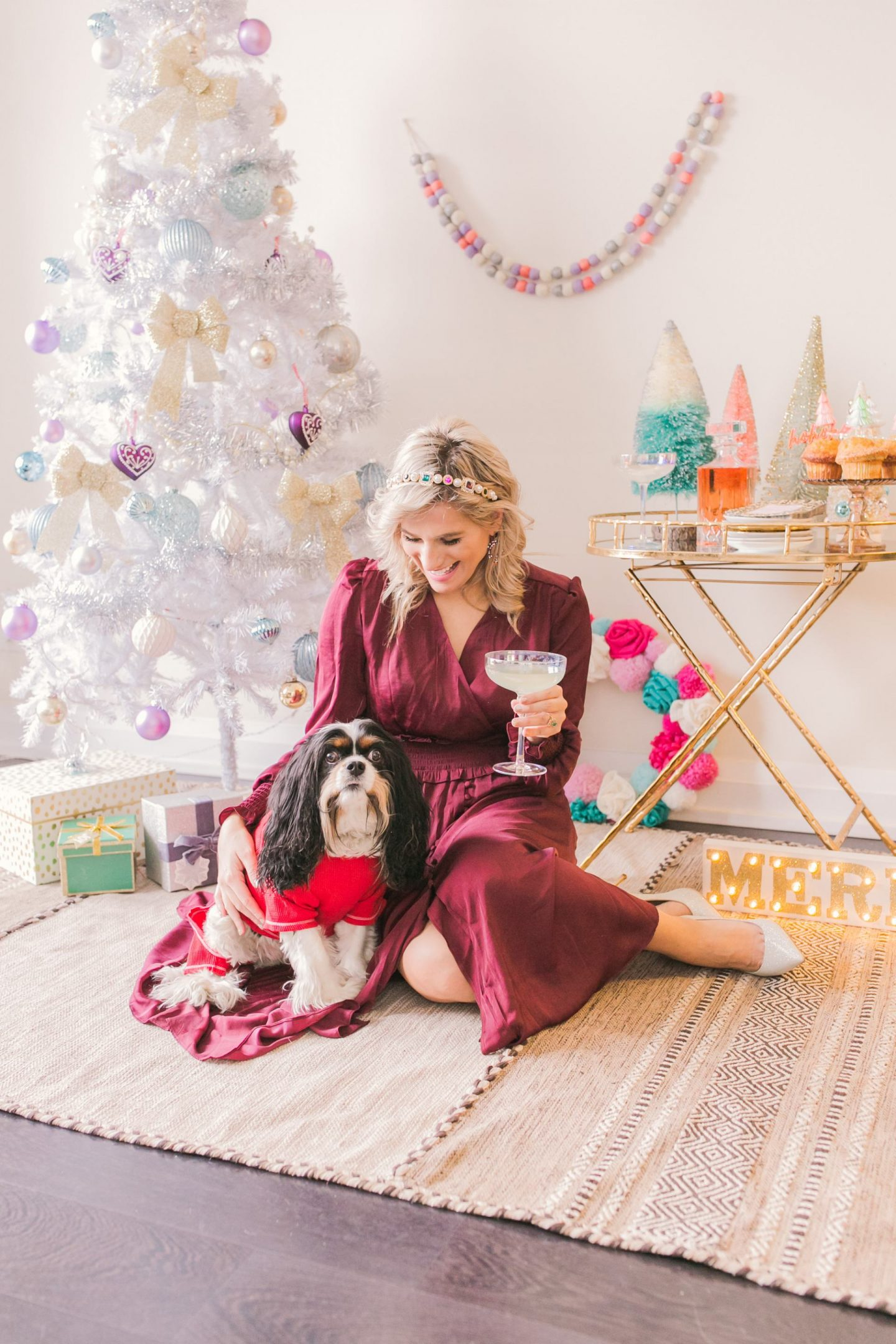 5 Easy Tips for Styling Your Holiday Bar Cart - Bijuleni with Cavalier King Charles Spaniel puppy