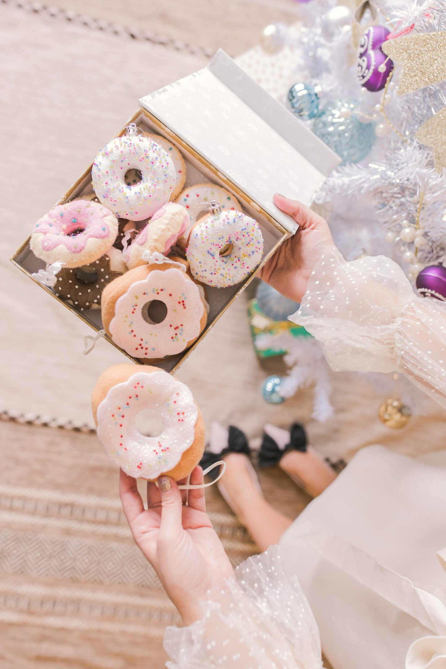 Cute, handmade donut ornaments for your themed Christmas tree