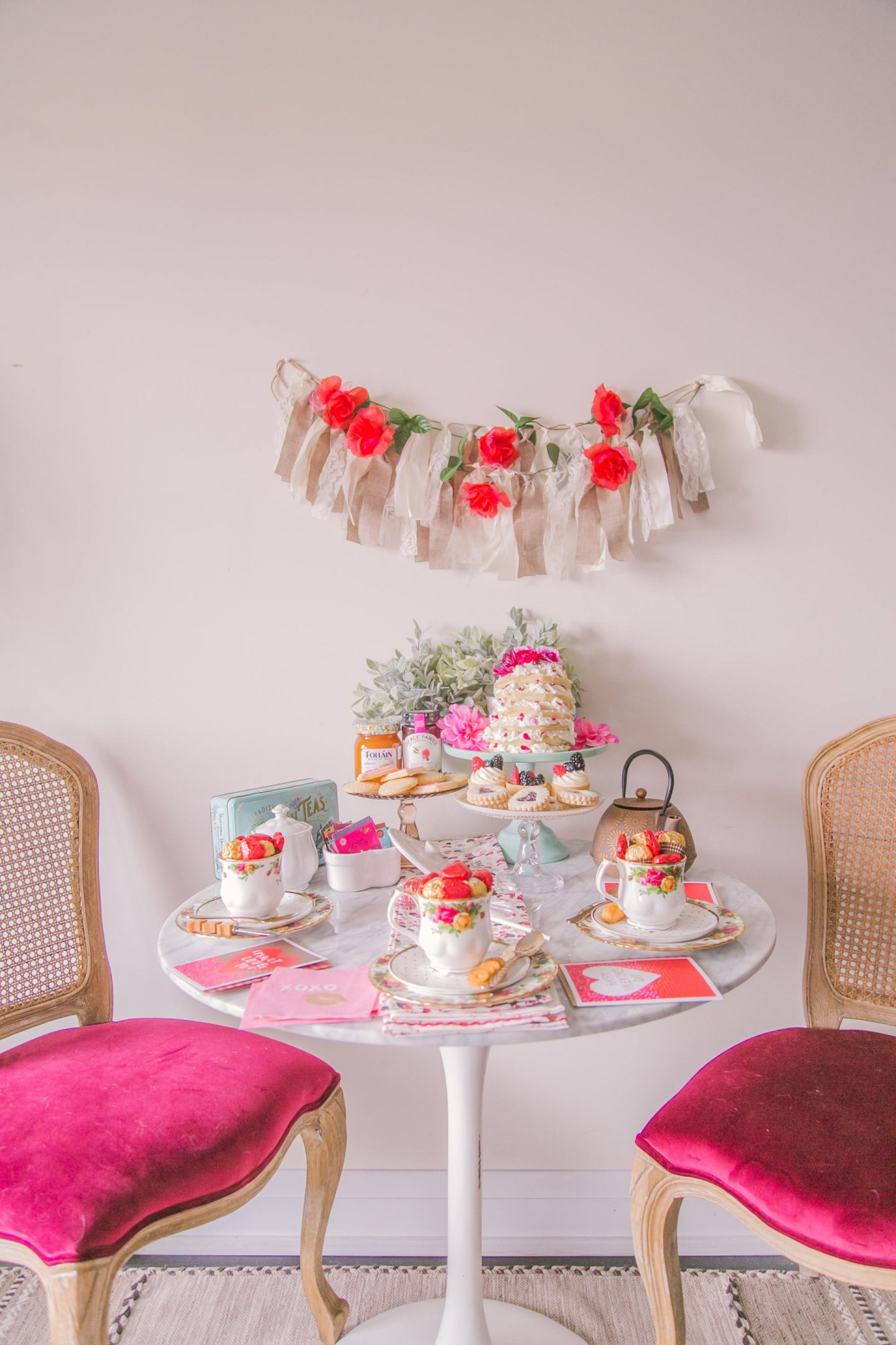 Galentine's Day afternoon tea party table setup inspiration