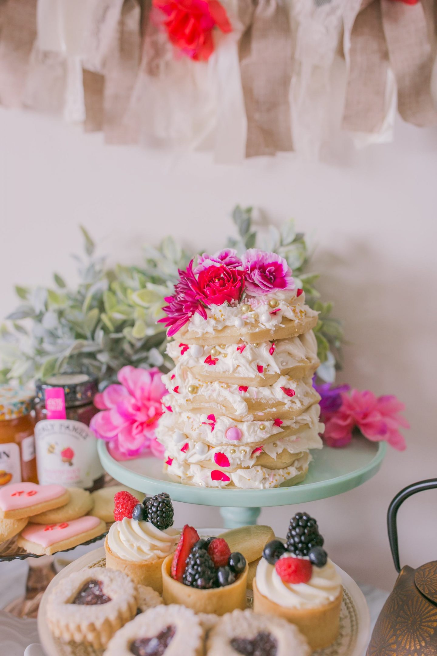 Easy to make Valentines Day waffle cake at home for the pefect Galentine's celebration